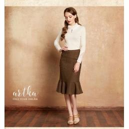 Шерстяная юбка-русалка от Artka с накладными карманами