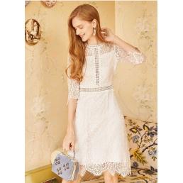 Двухслойное белое кружевное платье Artka с прозрачными  рукавами и какеткой
