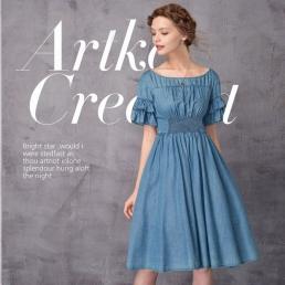 Джинсовое платье Artka, с воланами на рукавах и сборкой на груди и спине