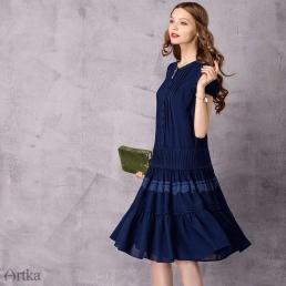 Однотонное  (синее) платье Artka с заниженной талией и двойной оборкой на юбке