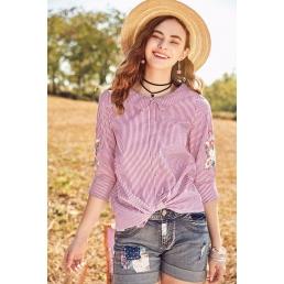 Блузка Artka в полоску с вышивкой на рукавах и завязками сзади
