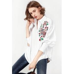 Однотонная рубашка с вышивкой птицы (Белый)