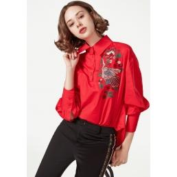 Однотонная рубашка с вышивкой птицы (Красный)
