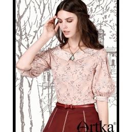 Винтажная блузка Artka с рукавом-фонарик и воротником челси