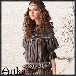 Винтажная серая блузка Artka с оборками