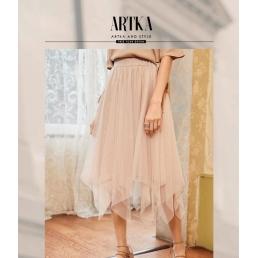 Блестящая юбка с Artka ассиметричными клиньями (персиковый)