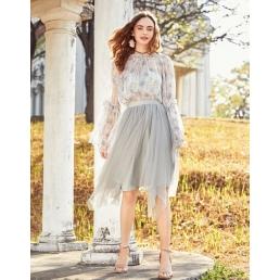 Блестящая юбка с Artka ассиметричными клиньями (серый)