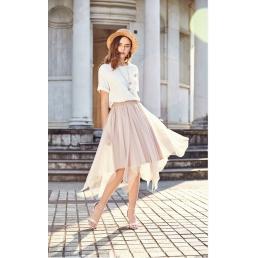 Блестящая юбка с Artka ассиметричными клиньями (бежевый)