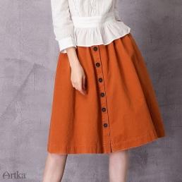 Яркая однотонная юбка Artka на пуговицах