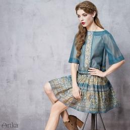 Пышная короткая юбка Artka с ярким оранаментом и оборками