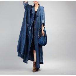 Плащ Madam Boho с накладными карманами (синий)