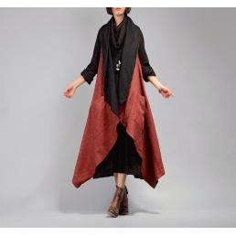Накидка Madam Boho без рукавов с отворотом (красный)
