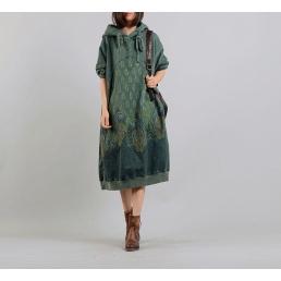 Платье-толстовка с капюшоном (зеленый)
