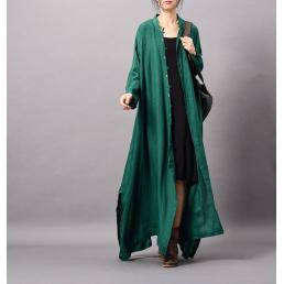 Льняная зеленая накидка