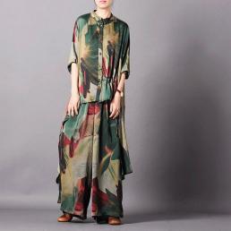 Шелковый костюм с ассиметричной рубашкой (зеленый)