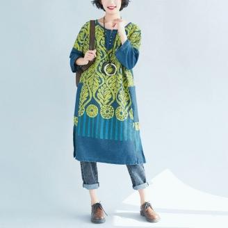 Платье-туника с желтыми листьями