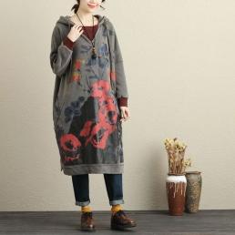 Длинное платье-толстовка с капюшоном (серый)