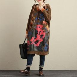 Длинное платье-толстовка с капюшоном (коричневый)