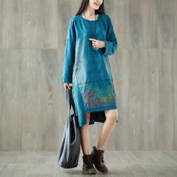 Платье-толстовка с карманом кенгуру (синий)