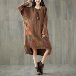 Платье-толстовка с карманом кенгуру (коричневый)