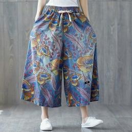 Свободные укороченные брюки с цветочным принтом
