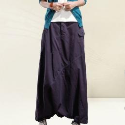 Однотонные брюки-алладины с карманами