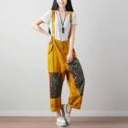 Яркие брюки на бретелях с этно-вставками (желтый)