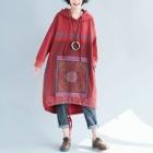 Ассиметричное платье-толстовка с рисунком квадрат (красное)