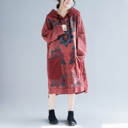 Платье-толстовка с накладными карманами и рисуном розы (красный)