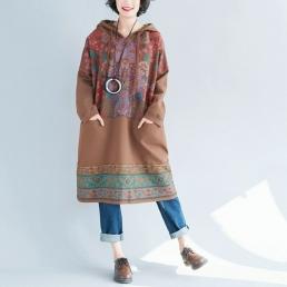 Платье-толстовка с внутренними карманами (коричневый)