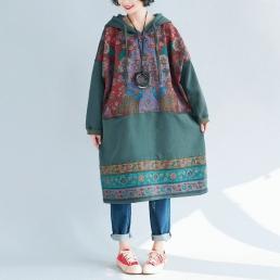 Платье-толстовка с внутренними карманами (зеленый)