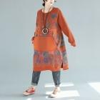 Платье-толстовка кенгуру без капюшона (оранжевый)