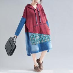 Комбинированное джинсовое платье-толстовка (красный)
