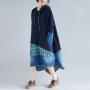 Комбинированное джинсовое платье-толстовка (синий)