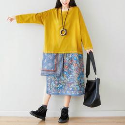 Ассиметричное комбинированное платье (желтый)