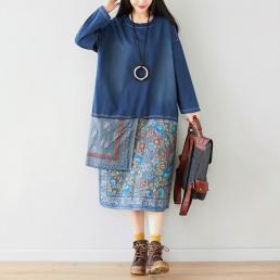 Ассиметричное комбинированное платье (синий)