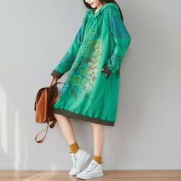 Платье-толстовка Полевые цветы (зеленый)