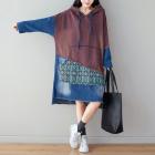 Комбинированное джинсовое платье-толстовка (коричневый)