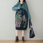 Платье-толстовка Цветы-листья (зеленый)