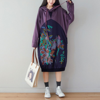 Платье-толстовка Цветы-листья (фиолетовый)