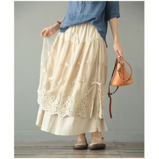 Двухслойная юбка с кружевом (бежевый)