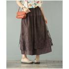 Двухслойная юбка с кружевом (коричневый)
