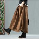 Вельветовая юбка с карманами и пуговицами (коричневый)