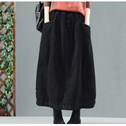 Вельветовая юбка с карманами и пуговицами (черный)
