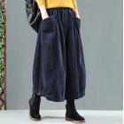 Вельветовая юбка с карманами и пуговицами (синий)