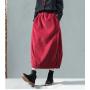 Вельветовая юбка на резинке с внутренними карманами (красный)