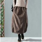 Вельветовая юбка на резинке с внутренними карманами (коричневый)