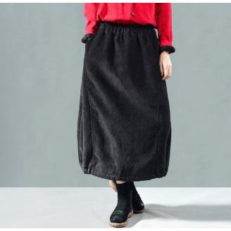 Вельветовая юбка на резинке с внутренними карманами (черный)