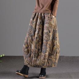 Теплая юбка с цветами