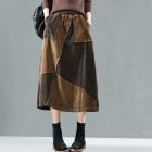 Вельветовая лоскутная юбка (коричневая)